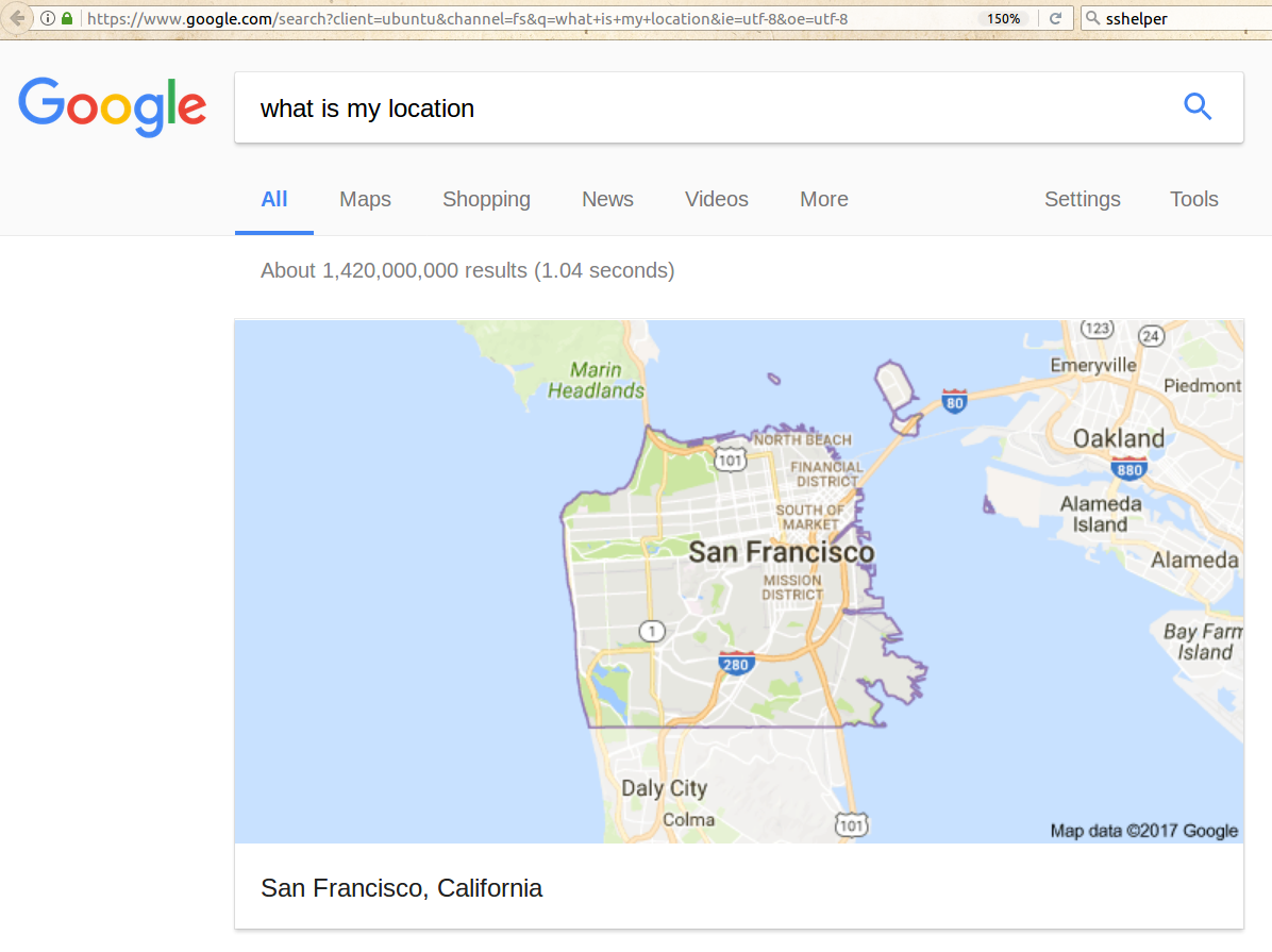 My Location According to Google